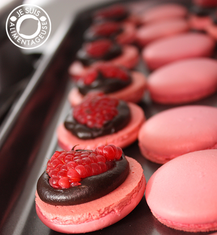 Raspberry Dark Chocolate Macarons