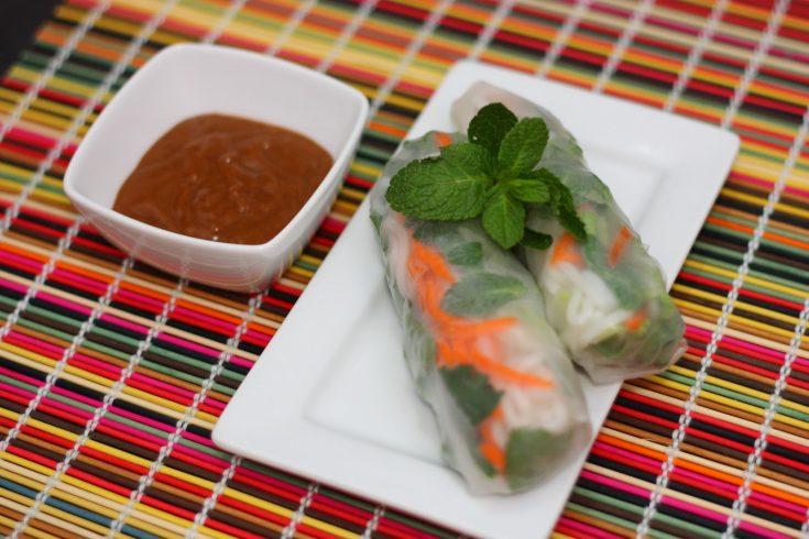 Vietnamese Fresh Spring Rolls with Peanut Sauce (Goi Cuon voi Tuong Dau Phong)