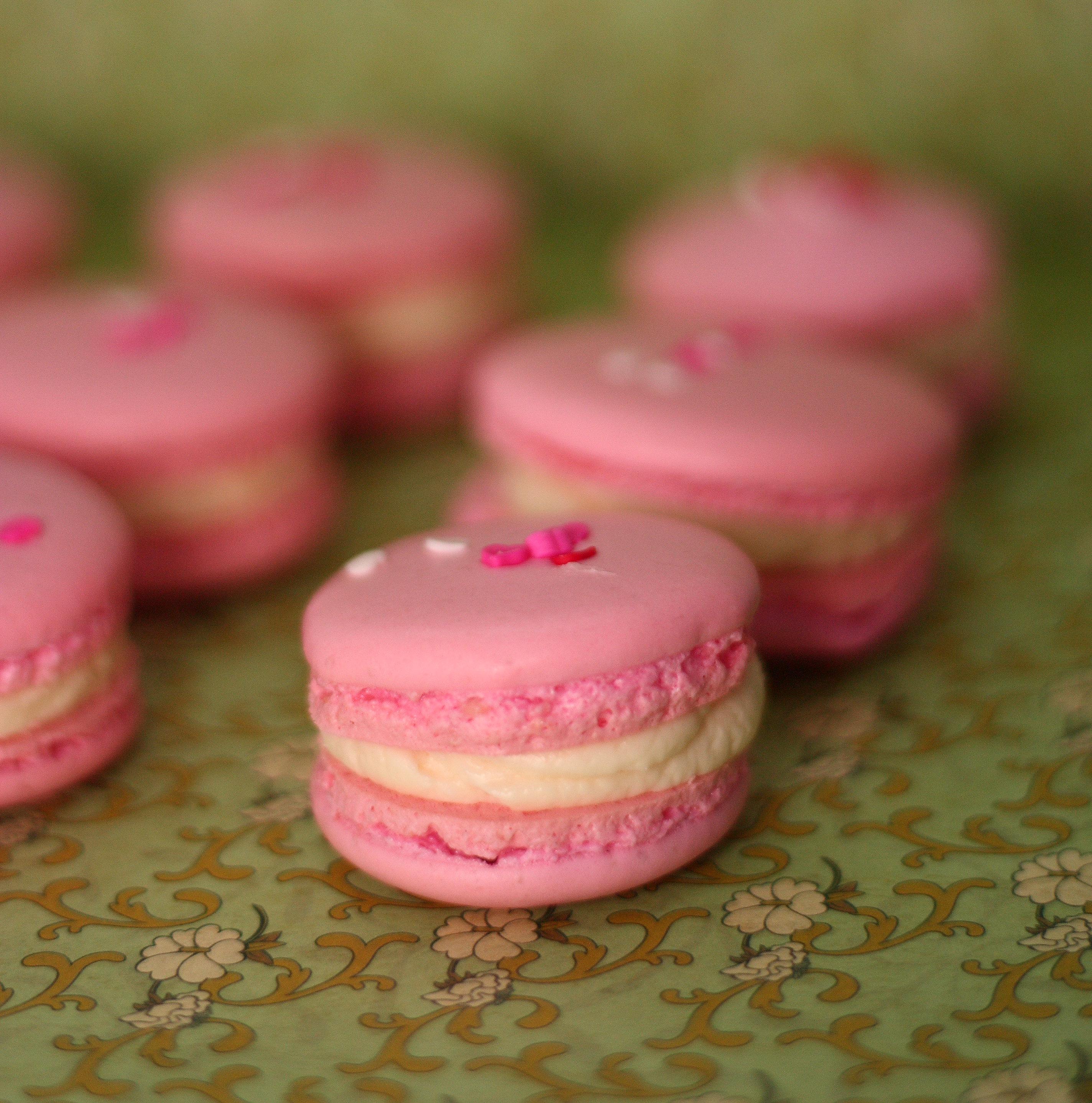 Rosewater Macarons with White Chocolate Swiss Meringue Buttercream