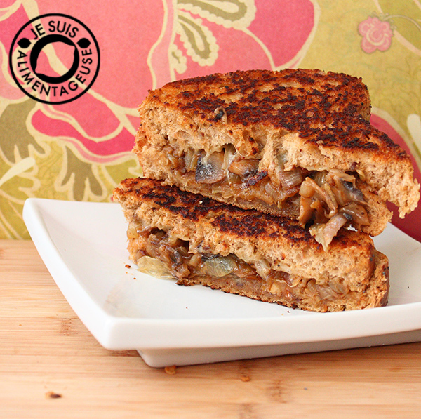 Grilled Cheese Sandwiches with Gruyere Cheese, Caramelized Onions, and Mushrooms