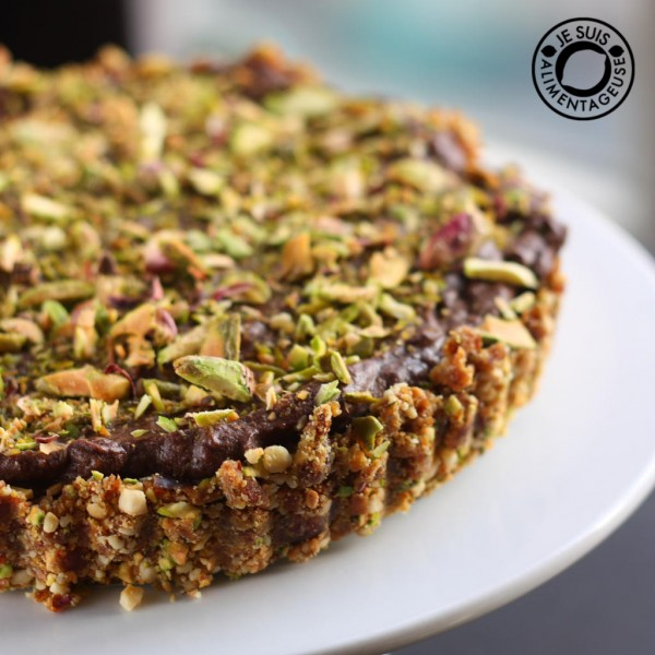 Vegan Pistachio Chocolate Cheesecake with Cashew Date Crust