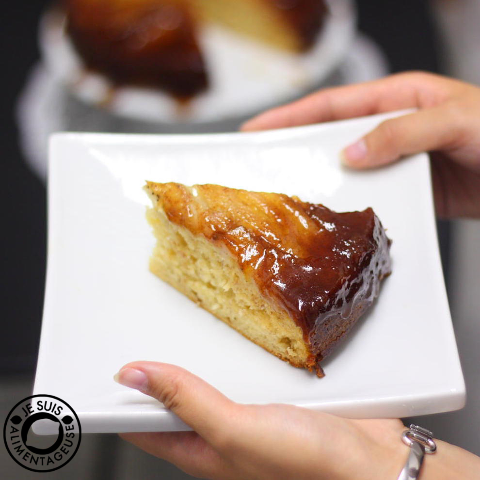 Banana Caramel Upside-Down Cake - The Viet Vegan