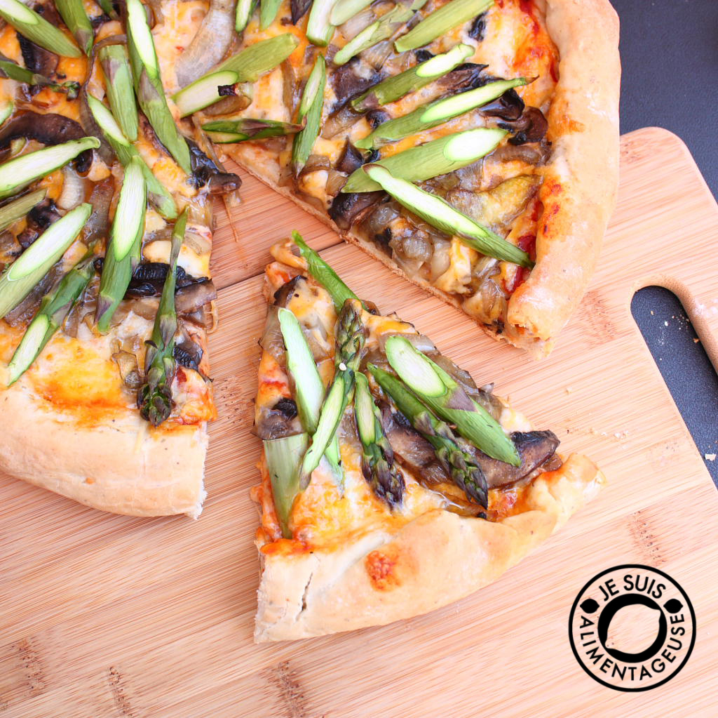 Asparagus Pizza with Onions and Portobello Mushrooms