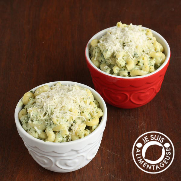 "Macaroni with Kale Pesto ""Alfredo"" Sauce"