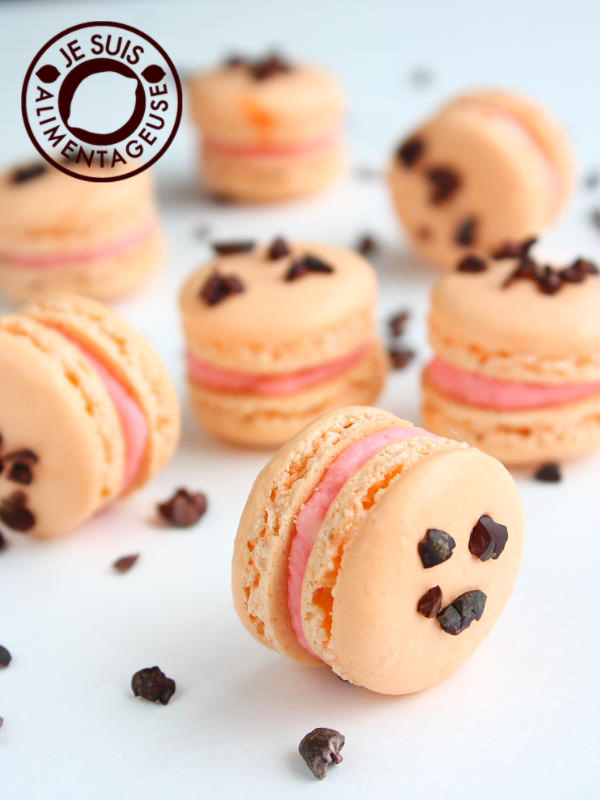 Blood Orange Macarons with Cacao Nibs #alimentageuse #gluten-free #desserts #macarons