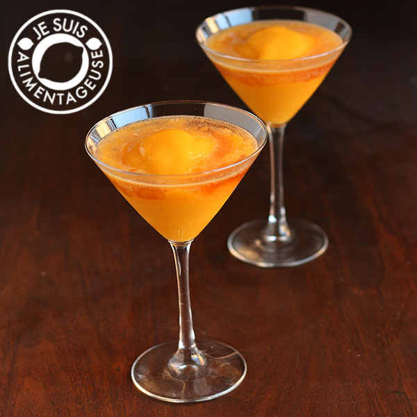 Virgin #Peach #Mango #Bellinis. Inspired by Milestone's Bellini! A #drink from alimentageuse.com