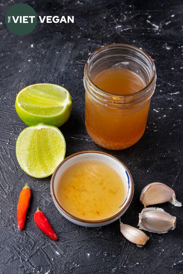 ingredients for vegan fish sauce based nuoc cham