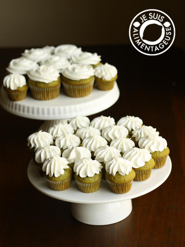 Green Tea #Cupcakes, inspired by Starbucks' #Green #Tea #Frappucino | alimentageuse.com #desserts