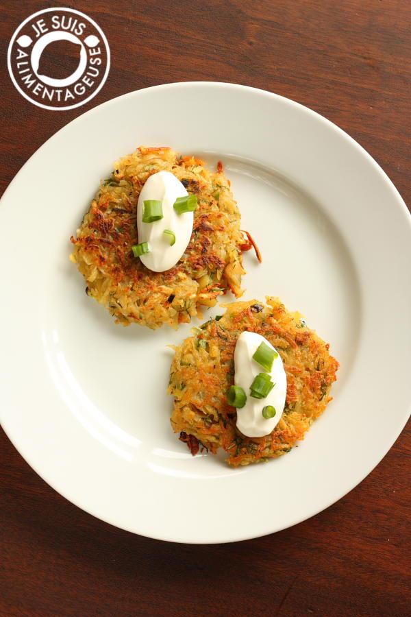 Crispy Scallion Potato Pancakes #breakfast #potatoes | alimentageuse.com
