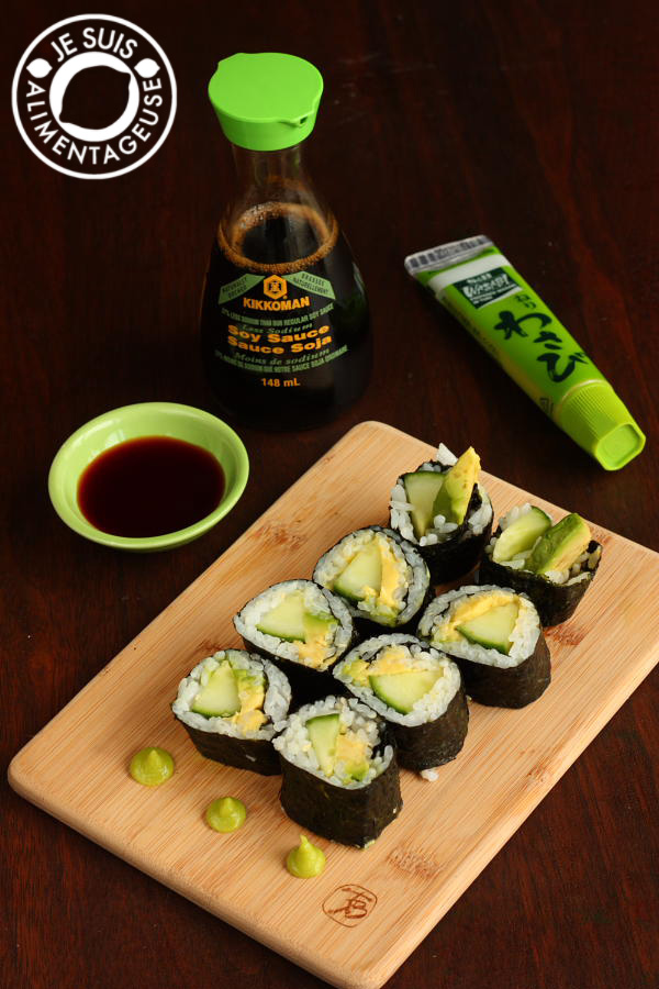 Avocado Cucumber Sushi - easy to make sushi at home | alimentageuse.com #appetizers #vegan #avocado #sushi