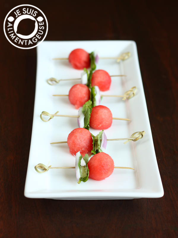 Savory Watermelon Goat Cheese Mint Salad Skewers | alimentageuse.com - a perfect #appetizer for a #summer #BBQ