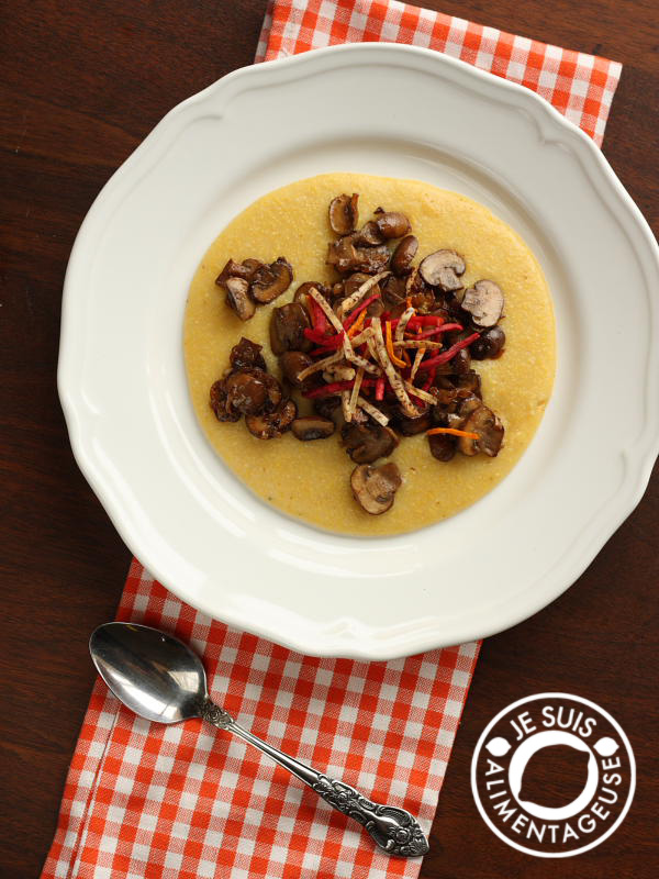 Polenta with Caramelized Mushrooms | alimenageuse.com - A wonderfully vegan, filling