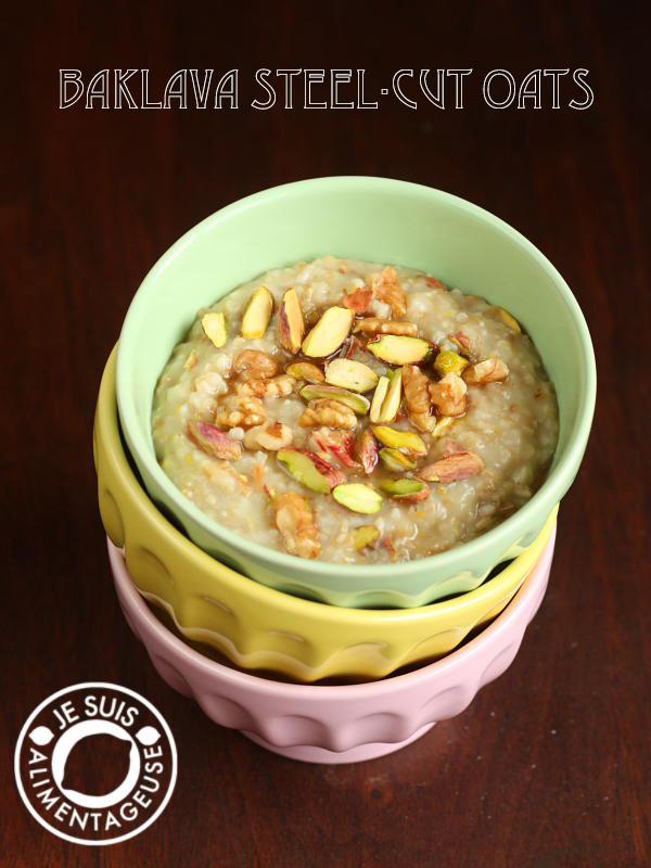 Baklava-Inspired Overnight Steel-Cut Oatmeal | alimentageuse #breakfast #healthy #protein