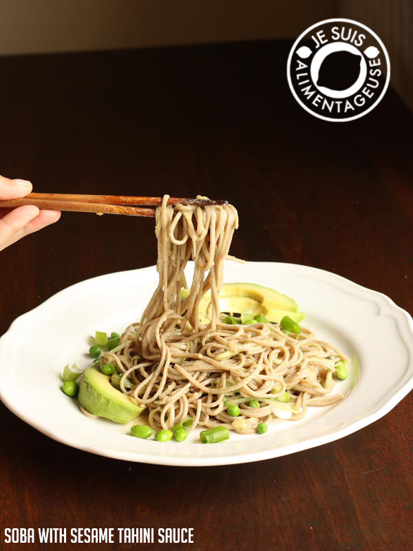 Soba with Sesame Tahini Sauce | a perfect noodle salad that's delicious hot, but especially cold. | alimentageuse.com #summer #salad #cold #vegan #iron #protein