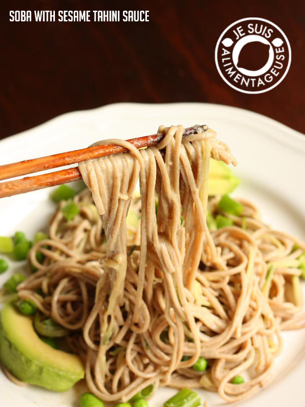Soba Noodles with Sesame Tahini Sauce | a perfect noodle salad that's delicious hot, but especially cold. | alimentageuse.com #summer #salad #cold #vegan #iron #protein