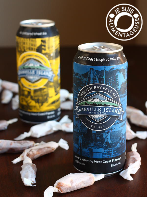 #Beer and Pretzel #Caramels - A #sweet and #salty snack that is super addictive! Showcasing pale ale from Granville Island Brewing | alimentageuse.com