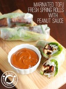 Marinated Tofu Fresh Spring Rolls with Peanut Sauce - alimentageuse.com #vietnamese #appetizers #vegan #GF