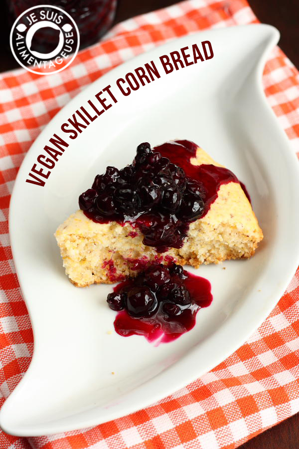 Skillet Cornbread with Blueberry Sauce | Perfect for ice cream, corn bread, toast, whatever! | alimentageuse.com #blueberry #sauce #cornbread