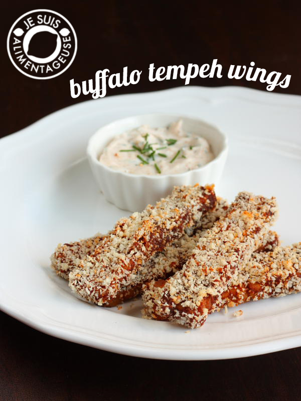 Buffalo Tempeh Wings - So flavourful and tender with a crunch, with an optional kick of cayenne at the end | alimentageuse.com #vegan #appetizers #buffalo