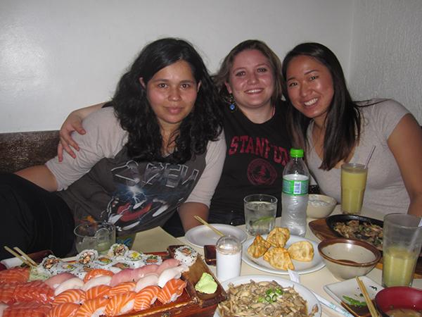 Jamille, Thacia, and me at Yamamoto Sushi in LIberdade, São Paulo, Brasil