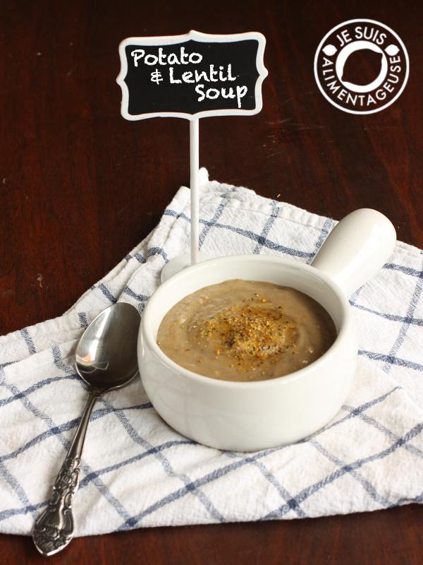 Potato and Lentil Soup | alimentageuse.com | #soup #fall #potato #lentil #protein