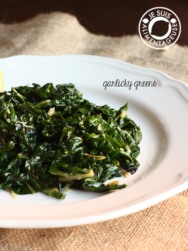 Garlicky Greens | alimentageuse.com | #vegan #thanksgiving #sides #green