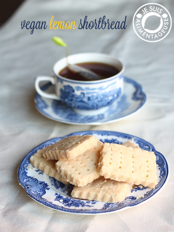 Vegan lemon shortbread | alimentageuse.com #holidays #lemon #cookies #shortbread