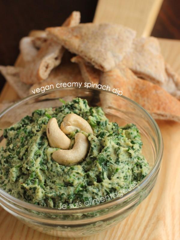Vegan Creamy Spinach Dip #AppetizerWeek