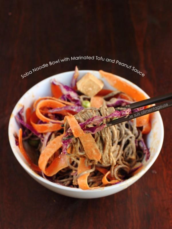 Soba Noodle Bowl with Marinated Tofu and Peanut Sauce