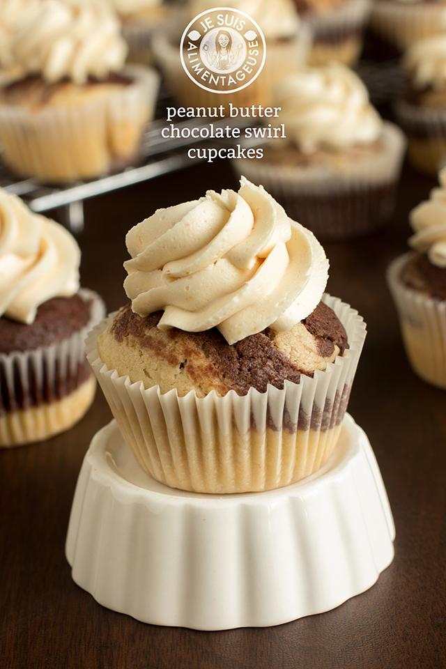 Peanut Butter Chocolate Swirl Cupcakes