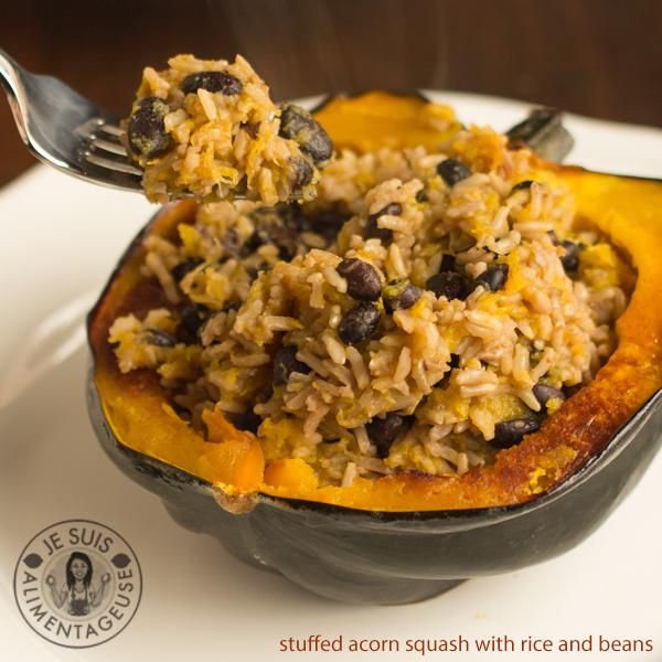 Rice and Beans Stuffed Acorn Squash