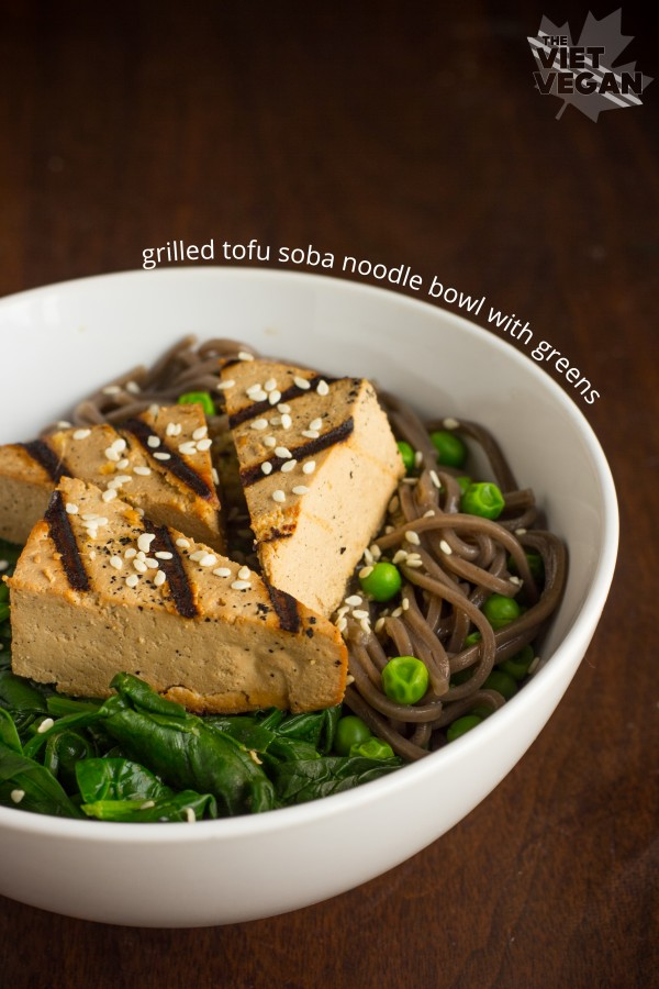 Grilled Tofu Soba Noodle Bowl with Greens