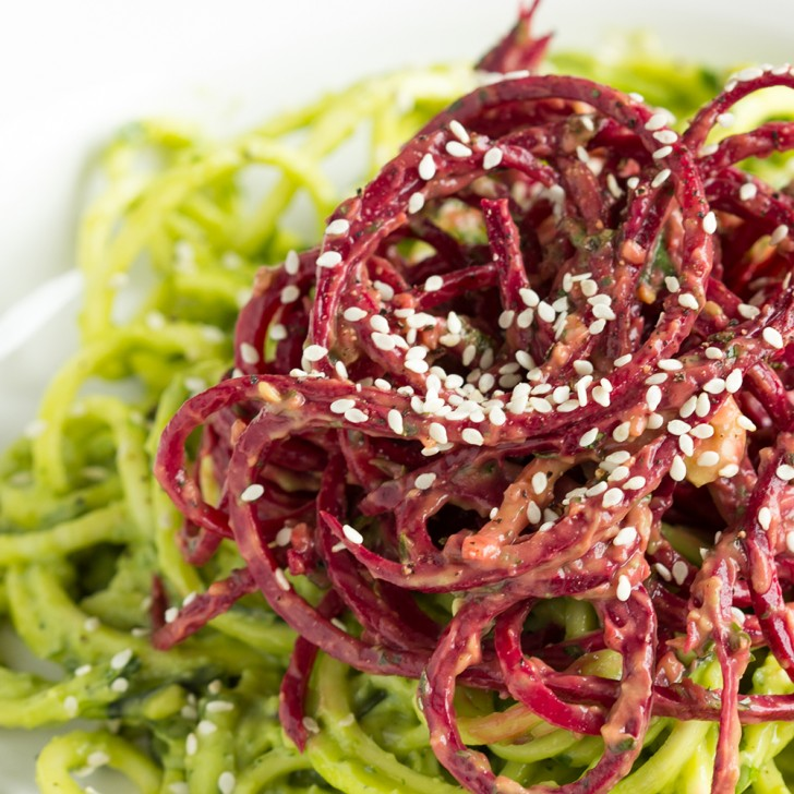 Zucchini Beet Noodles with Avocado Cilantro Lime Sauce