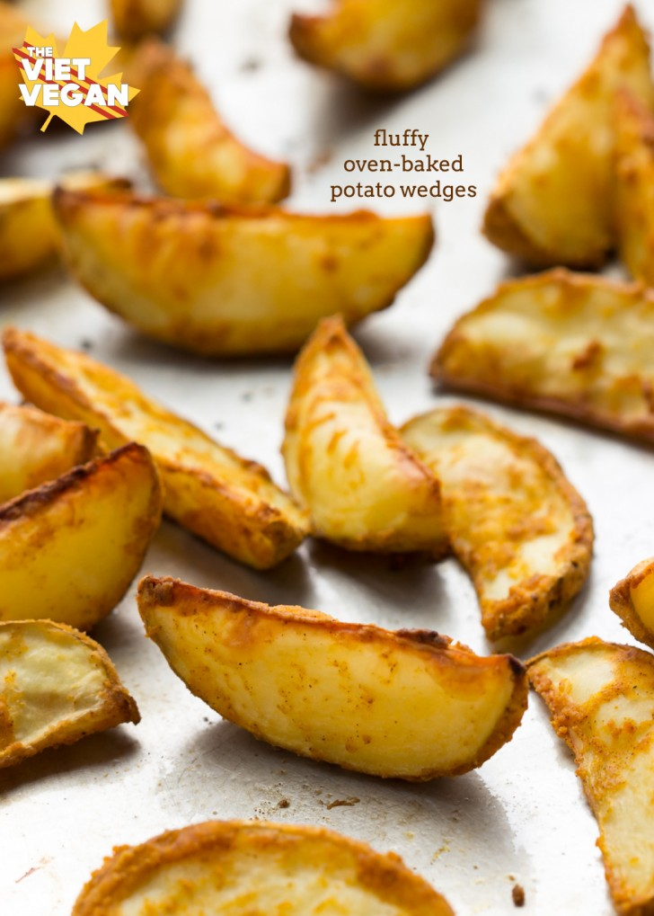 Vegan Fluffy Oven-Baked Potato Wedges