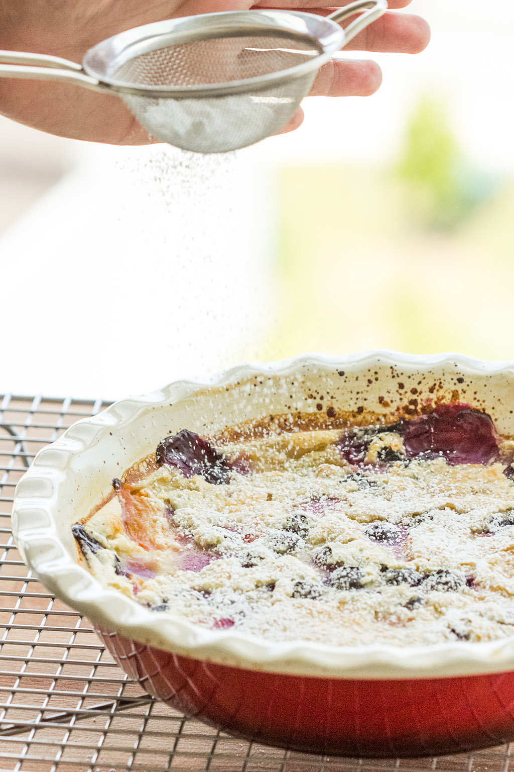 Vegan Golden Plum and Blueberry Clafoutis | The Viet Vegan | A warm, vanilla custardy hug that embraces summer golden plums and blueberries