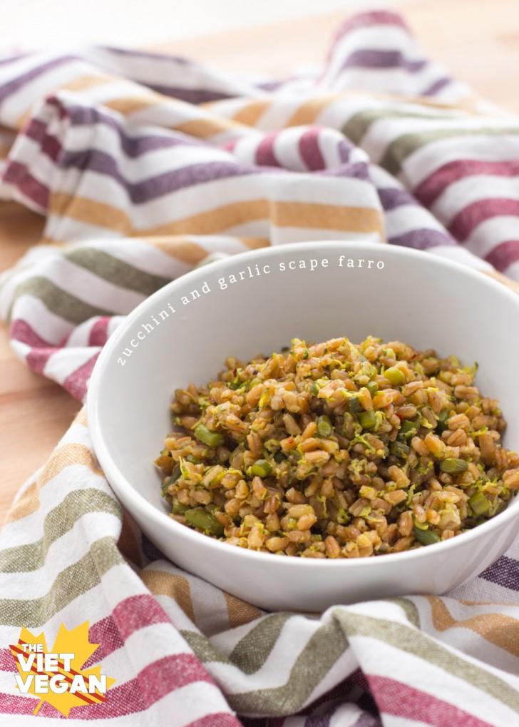 Zucchini and Garlic Scape Farro