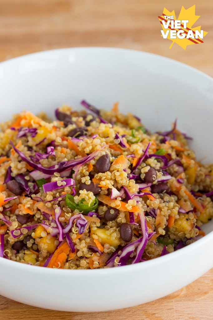 Vegan Rainbow Peach Quinoa Salad
