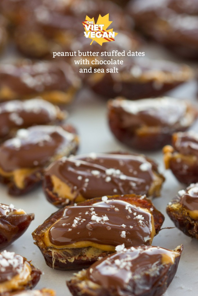 Vegan Peanut Butter Stuffed Dates with Chocolate and Sea Salt