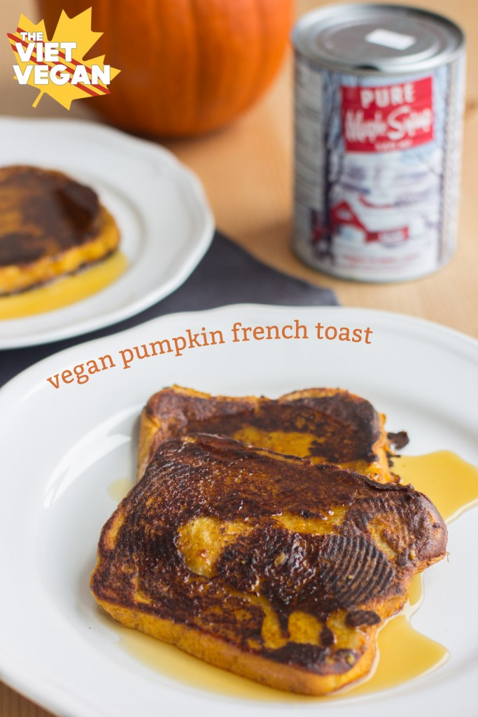 Vegan Pumpkin French Toast | The Viet Vegan | Warm up on fall mornings with this pumpkin french toast!