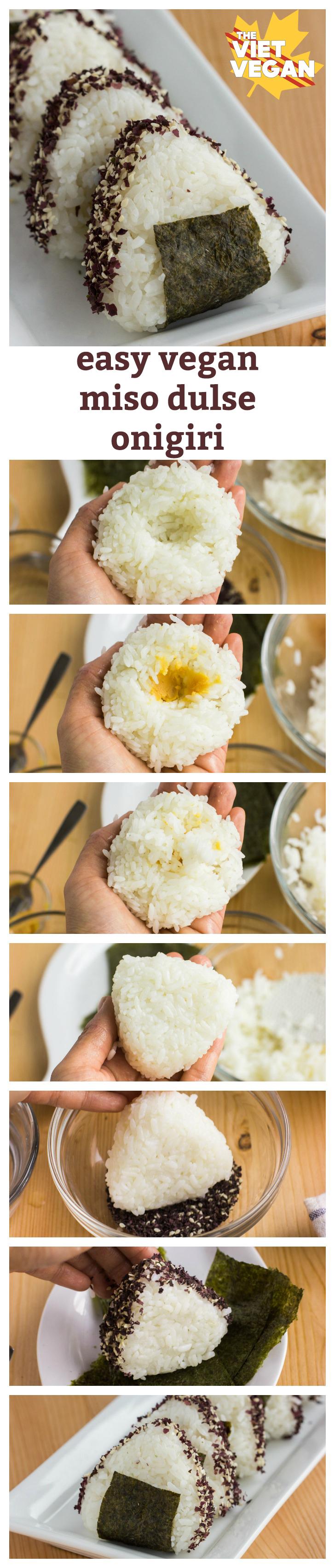 """Vegan Miso Dulse Onigiri   The Viet Vegan   Japanese versions of """"sandwiches"""", onigiri are stuffed rice triangles"""