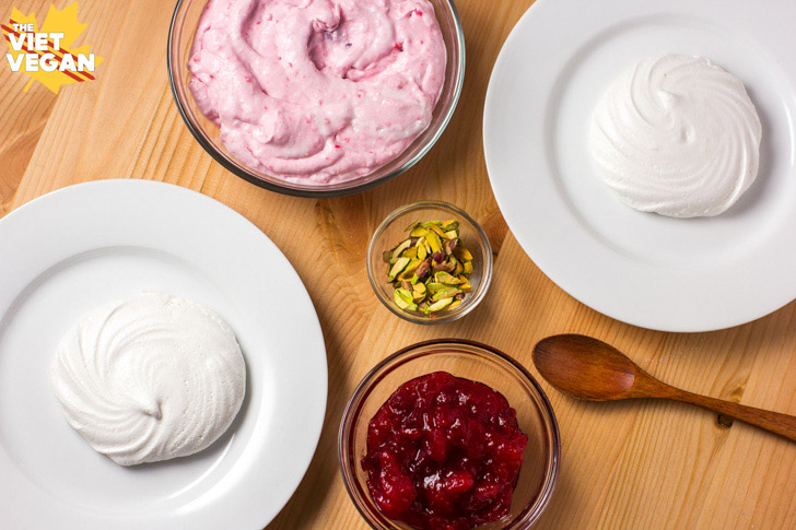Vegan Meringue Nests with Cranberry Coconut Whip and Crushed Pistachios