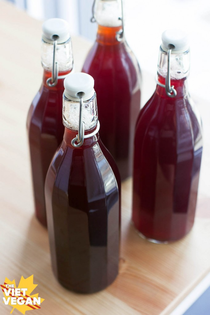 Homemade haskapa Kombucha | The Viet Vegan | Easy to make your own kombucha at home with tea, sugar, a SCOBY, and some haskapa berry juice!