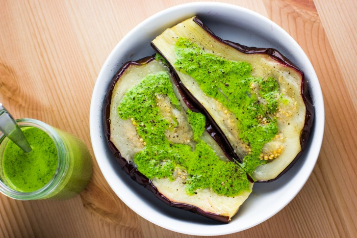 Roasted eggplant with herby dressing