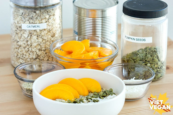 Vegan Oatmeal Peach Breakfast Bowl | The Viet Vegan