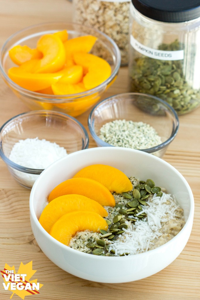 Vegan Oatmeal Peach Breakfast Bowl | The Viet Vegan