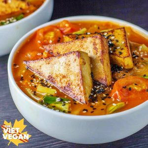 Vegan Spicy Lemongrass Noodle Soup | The Viet Vegan