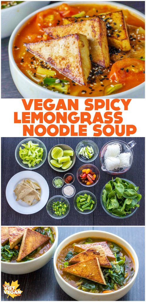 spicy lemongrass noodle soup collage