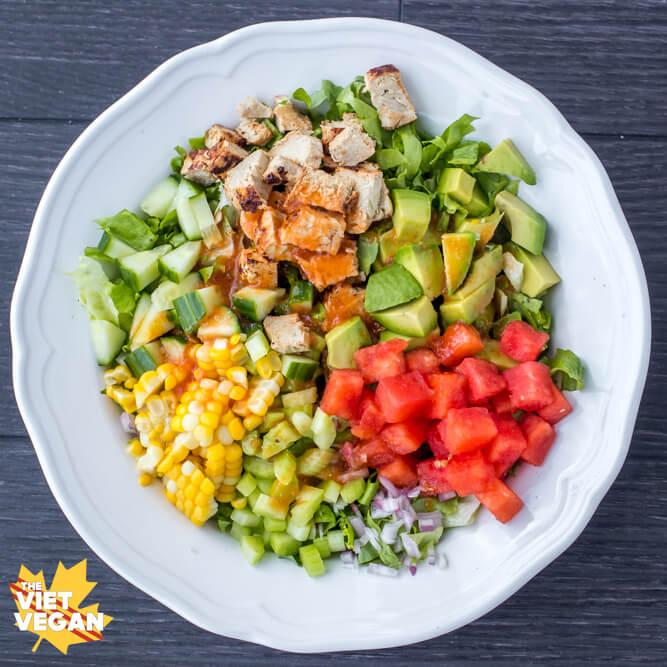VEGAN Watermelon Chopped Salad with Watermelon Vinaigrette   The Viet Vegan