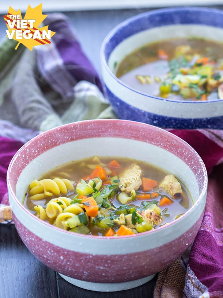 Vegan Chicken Noodle Soup | The Viet Vegan