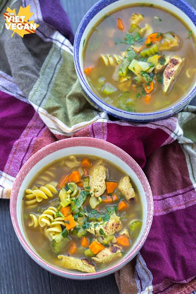 Vegan Chicken Noodle Soup | The Viet Vegan